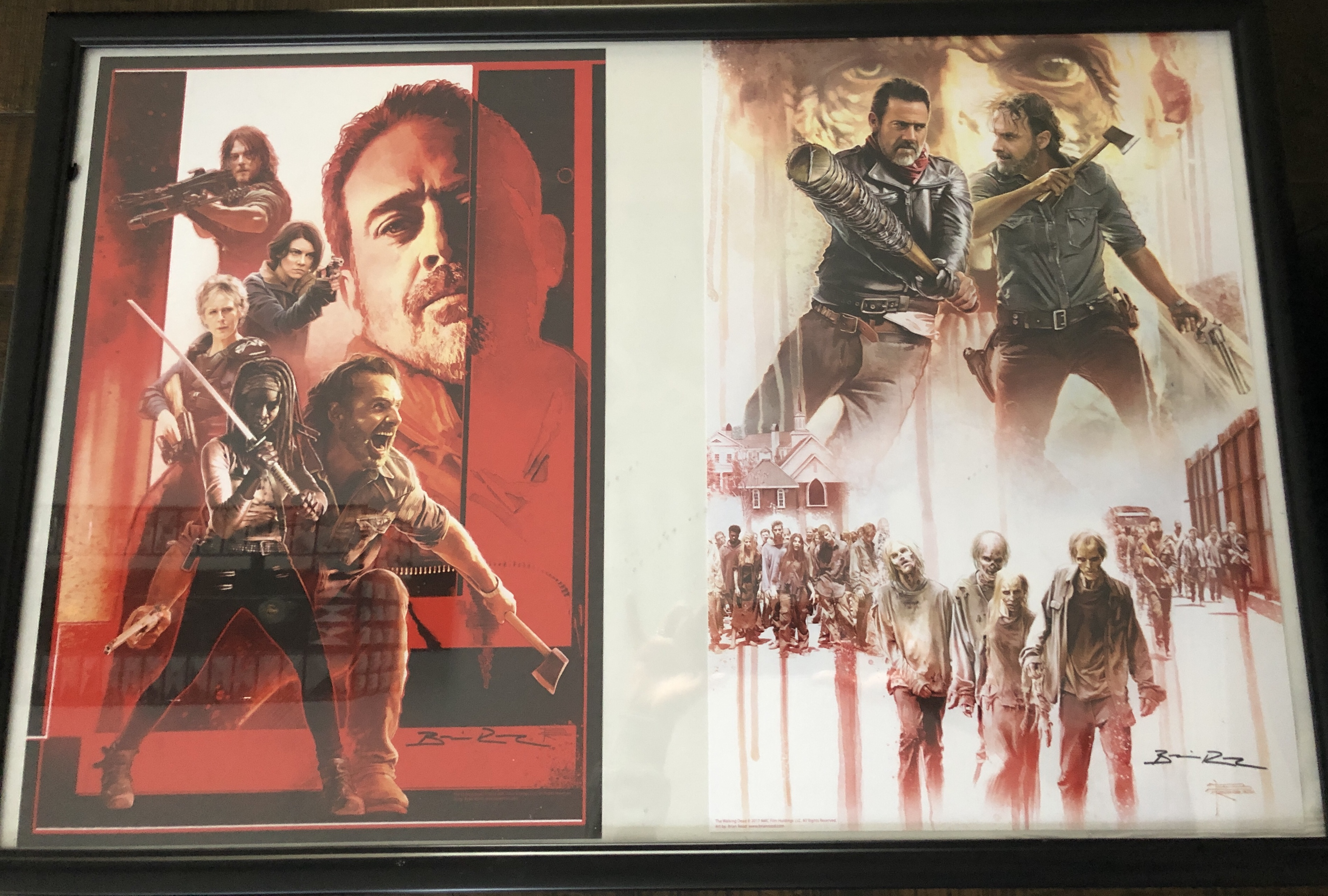 Two autographed artist Prints by walking dead local artist Brian Rood